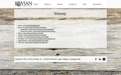 Screenshot of Site Map Page jovianconcepts.com - Sitemap | Jovian Concepts, Inc. - captured Oct. 16, 2017