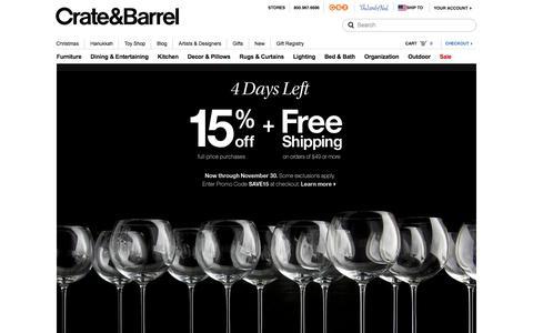 Screenshot of Home Page crateandbarrel.com - Furniture, Home Decor and Wedding Registry | Crate and Barrel - captured Nov. 27, 2015