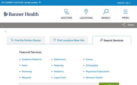 Screenshot of Services Page bannerhealth.com - Services | Banner Health - captured March 30, 2018