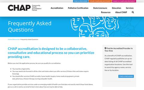 Screenshot of FAQ Page chapinc.org - Frequently Asked Questions about Health Accrediations - CHAP - captured Feb. 18, 2020