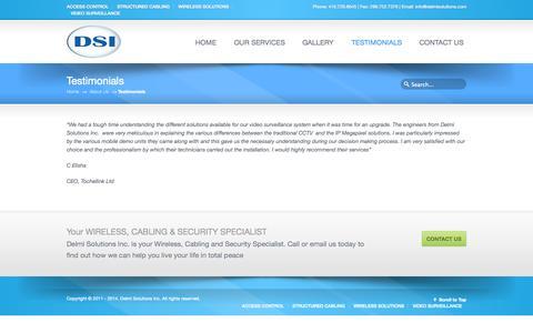 Screenshot of Testimonials Page delmisolutions.com - Testimonials «  Delmi Solutions Inc. - captured Oct. 5, 2014