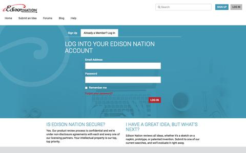 Screenshot of Login Page edisonnation.com - Invention Ideas for New Products - captured May 15, 2017