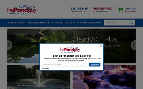 Screenshot of Home Page thepondguy.com - Pond, Lake, & Water Garden Supplies, Pond Algae Control, Pond Dye, Pond Aeration, Pond Liners - captured Feb. 19, 2016