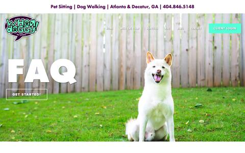 Screenshot of FAQ Page whoadoggy.com - Frequently Asked Questions about Pet Sitting & Dog Walking | Atlanta & Decatur | Whoa Doggy! - captured Dec. 3, 2016