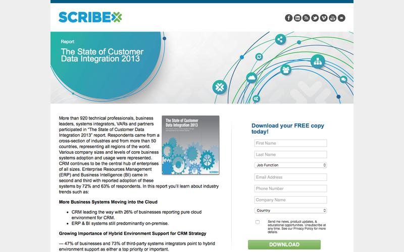 Report: The State of Customer Data Integration 2013   Scribe Software