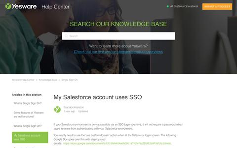 Screenshot of Support Page yesware.com - My Salesforce account uses SSO  – Yesware Help Center - captured July 12, 2019