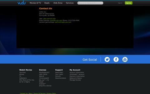 Screenshot of Contact Page vudu.com - VUDU - About Us - Contact Us - captured Sept. 12, 2014