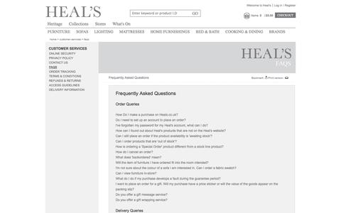 Screenshot of FAQ Page heals.co.uk - FAQs |     Heal's - captured Sept. 22, 2014
