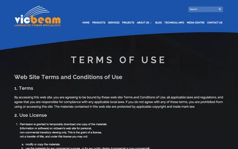 Screenshot of Terms Page vicbeam.com.au - Terms of use - vicbeam™ - captured Oct. 29, 2014
