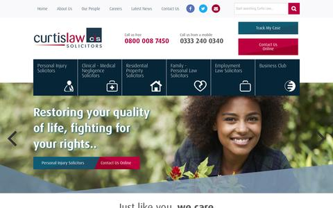 Screenshot of Home Page curtislaw.co.uk - Curtis Law - Personal Injury & Employment Law Solicitors - captured Sept. 18, 2015