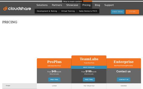 Screenshot of Pricing Page cloudshare.com - Pricing, Subscription | CloudShare - captured July 20, 2014