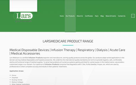 Screenshot of Products Page larsmedicare.com - Indian medical Products - Hospital Products | DISPOSABLES | IV Set - captured July 15, 2017