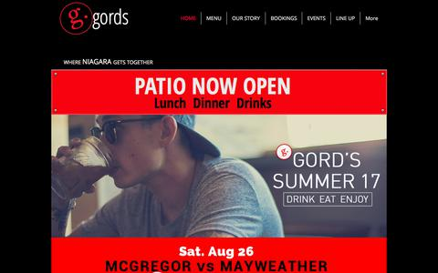 Screenshot of Home Page gords.com - Gord's Place Restaurant .. Fresh Food & Great Drinks - captured Aug. 30, 2017