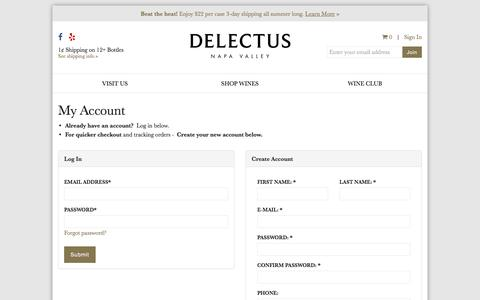 Screenshot of Login Page delectuswinery.com - Register or Login | Delectus Winery - captured Aug. 6, 2018