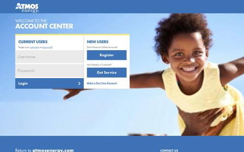 Screenshot of Login Page atmosenergy.com - Atmos Energy Account Center - captured July 26, 2016
