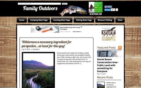 Screenshot of Blog family-outdoors.com - Family Outdoors Blog - captured Aug. 3, 2016