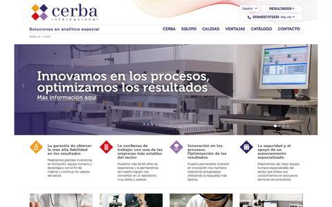 Screenshot of Home Page cerba.com - Cerba Internacional - Soluciones en análisis clínicos - captured Oct. 17, 2015