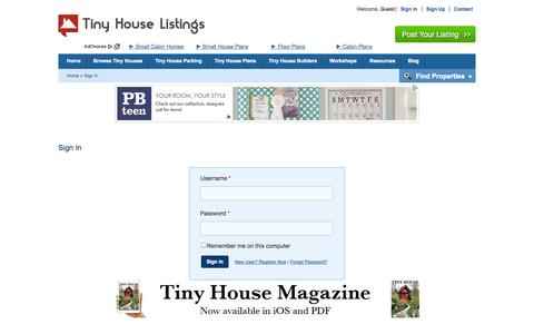 Screenshot of Login Page tinyhouselistings.com - Tiny House Listings - Buy, sell and rent tiny homes - captured Sept. 18, 2014