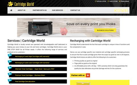 Screenshot of Services Page cartridgeworld.in - Services | Cartridge World - captured Oct. 3, 2018