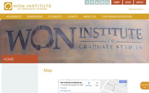 Screenshot of Maps & Directions Page woninstitute.edu - Map   Won Institute - captured Dec. 2, 2016