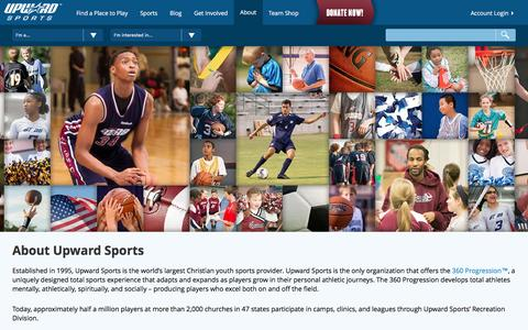 Screenshot of About Page upward.org - Industry Leader in Youth Sports - Upward Sports - captured Dec. 26, 2016