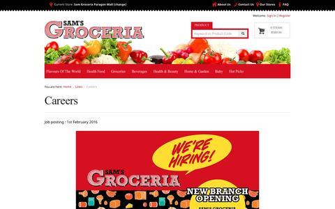 Screenshot of Jobs Page samsgroceria.com - Careers | SAM'S Groceria Malaysia - captured July 23, 2016