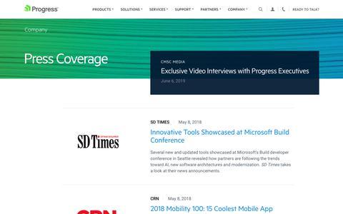 Screenshot of Press Page progress.com - Press Coverage - Page 8 - captured July 17, 2019