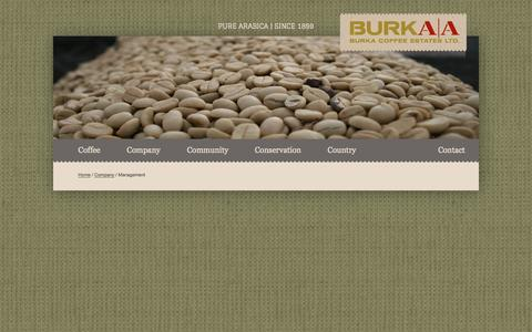 Screenshot of Team Page burkacoffee.com - Management » Burka Coffee Estates - captured Oct. 5, 2014