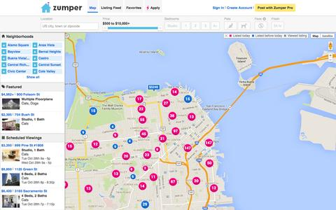 Screenshot of Maps & Directions Page zumper.com - Homes and Apartments For Rent - Zumper - captured Oct. 28, 2014