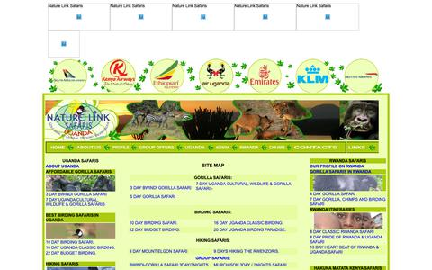 Screenshot of Site Map Page naturelinksafaris.co.ug - Book Gorilla Safaris, Wildlife Tours, Uganda Eco-tours, Africa cultural tours, Rwanda Tours, Birding Safaris, Car Rentals, Uganda Hotels with Nature Link Safaris Uganda - captured Oct. 18, 2018