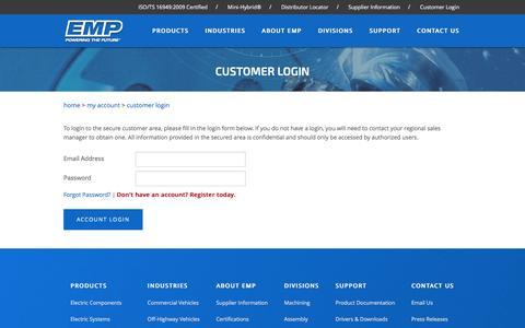 Screenshot of Login Page emp-corp.com - Engineered Machined Products : Customer Login - captured Nov. 8, 2016