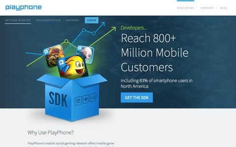 Screenshot of Developers Page playphone.com - Developers - captured Nov. 1, 2014