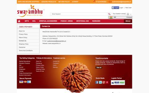 Screenshot of Contact Page swayambhustore.com - Contact Us - captured Oct. 6, 2014