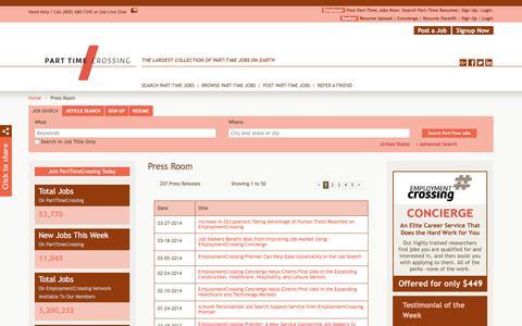 Screenshot of Press Page parttimecrossing.com - PartTimeCrossing.com News, Press Room, Press Releases | PartTimeCrossing.com - captured July 15, 2018
