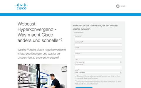 Screenshot of Landing Page cisco.com - Webcast Cisco HyperFlex: eine vollständige hyperkonvergente Infrastruktur - captured May 28, 2018