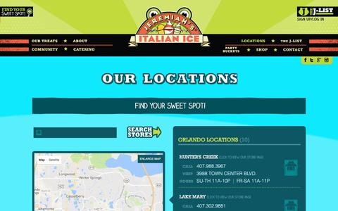 Screenshot of Locations Page jeremiahsice.com - Our Locations • Jeremiah's Italian Ice - captured Sept. 26, 2016