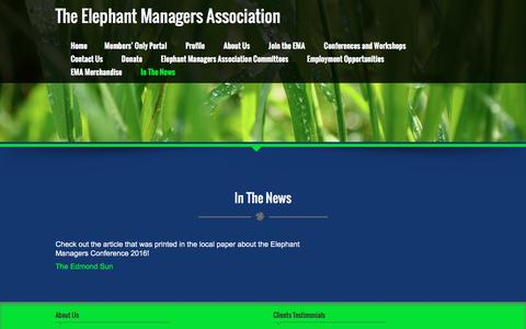 Screenshot of Press Page elephantmanagers.com - In The News – The Elephant Managers Association - captured Feb. 6, 2017