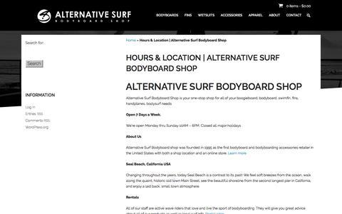 Screenshot of Hours Page alternativesurf.com - Hours and Location for Alternative Surf Bodyboard Shop - captured Oct. 8, 2017