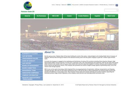 Screenshot of About Page psopk.com - Welcome to Pakistan State Oil - captured Sept. 24, 2014