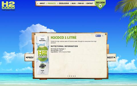 Screenshot of Products Page h2coconut.com - products | H2Coco Pure Coconut Water - captured Oct. 1, 2014