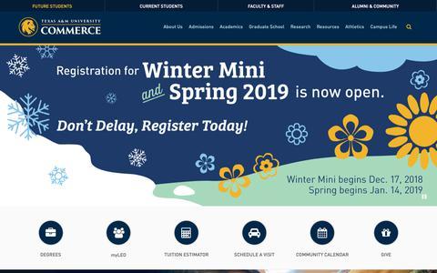 Screenshot of Home Page tamuc.edu - Texas A&M University-Commerce - captured Dec. 21, 2018