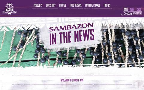 Screenshot of Press Page sambazon.com - In The Press - Sambazon - captured July 13, 2018