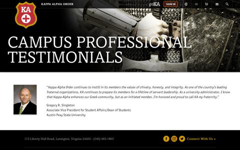Screenshot of Testimonials Page kappaalphaorder.org - Kappa Alpha Order Testimonials - Kappa Alpha Order - captured Dec. 10, 2018