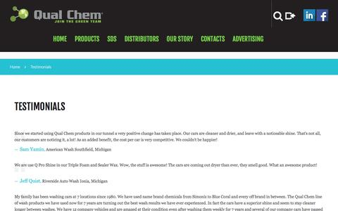 Screenshot of Testimonials Page qualchem.biz - Testimonials  |  Car wash chemicals at Qual Chem - captured Nov. 28, 2016