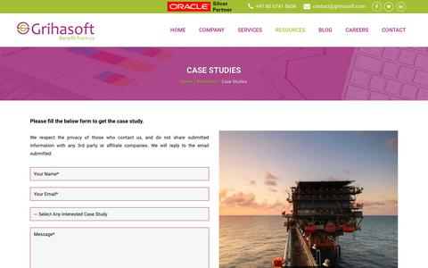 Screenshot of Case Studies Page grihasoft.com - Case Studies | Grihasoft - captured Sept. 30, 2018