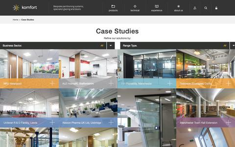 Screenshot of Case Studies Page komfort.com - Case Studies Archive - komfort komfort - captured Oct. 16, 2018