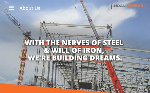 Screenshot of About Page jindalprefab.com - PEB, Pre Engineered Buildings, Steel Erector, Warehouse - About Us - captured Oct. 1, 2018
