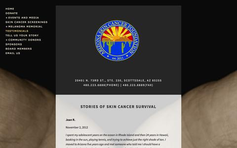Screenshot of Testimonials Page skinexam.org - Testimonials — Arizona Skin Cancer Foundation - captured Oct. 1, 2014