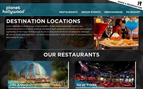 Screenshot of Locations Page planethollywood.com - Locations   Planet Hollywood Restaurants - captured July 14, 2016