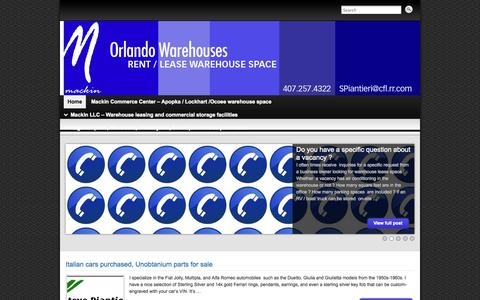 Screenshot of Home Page warehousesorlando.com - Mackin Commerce Center Warehouse Leasing - captured Oct. 8, 2014